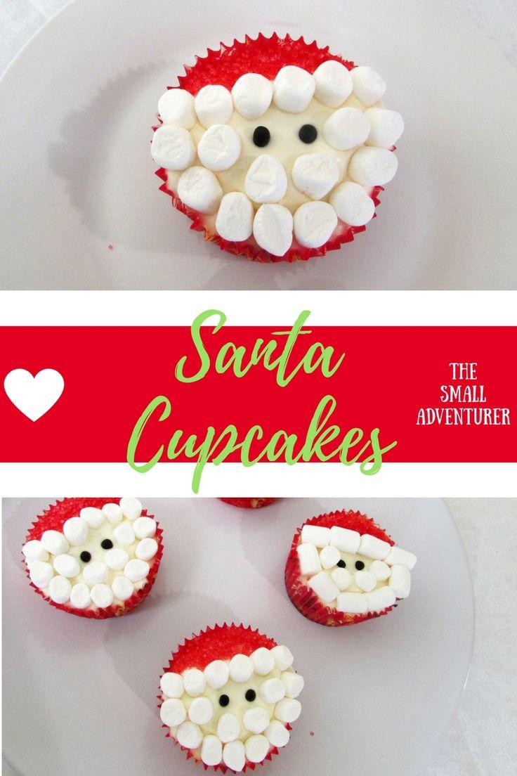 Easy Adorable Marshmallow Santa Cupcakes || The Small Adventurer