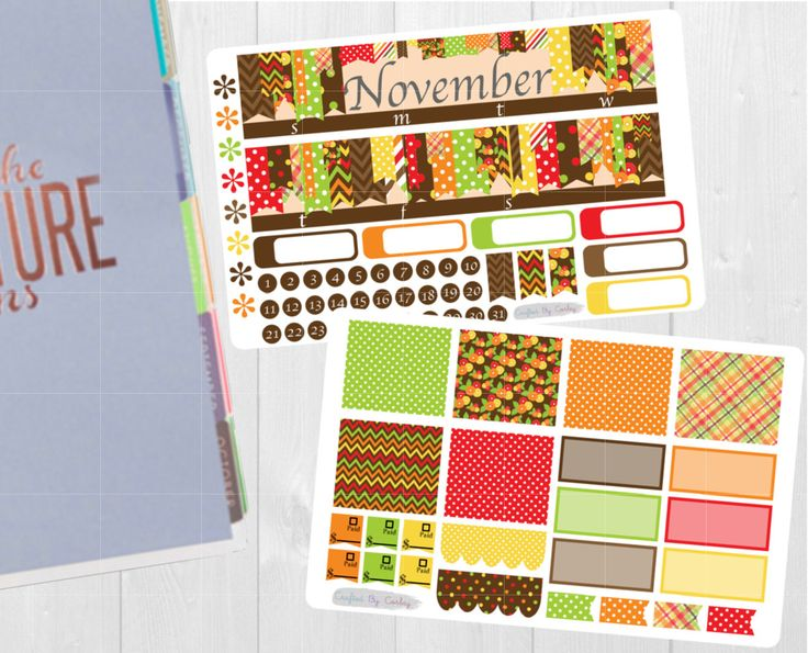 Available at CraftedByCorley on Etsy: November Monthly Sticker Set - Erin Condren Vertical and Horizontal Planners and More