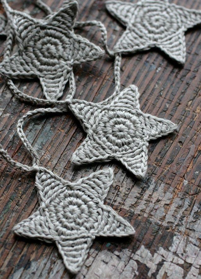 Crochet Garland – Wall Hanging – Small Bunting – Stars garland- Putty. $23.50, v…