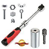 Universal Socket Wrench Set 3/8 Drive Standard Extendable Ratchet with Power Drill Adapter(3pcs Set)