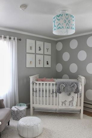 Transitional Kids Bedroom with Hardwood floors, interior wallpaper, Casablanca Leather Pouf White, flush light, Crown molding