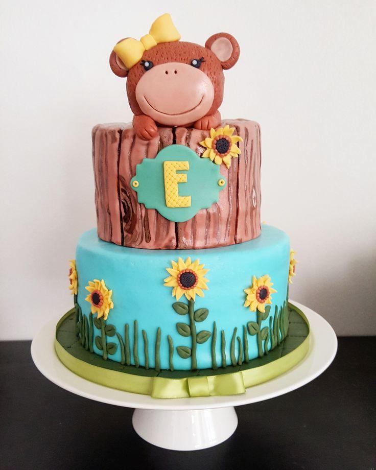 Monkey & Sunflowers themed Baby Shower! #le_jarre #brokenwhisk #oakland #babyshower #cake #monkey #sunflowers
