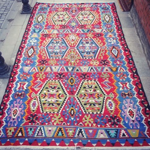 "Vintage Turkish colorful handwoven wool Kilim rug. Size : 126""x70""inch  (321x178cm), #kilim #kilimrug #rug #rugs #cute #color #carpet #colorful #vintage #antique #love #interior #istanbul #tribal #turkey #turkish #turkishrug #turkishkilim #home #house #handmade #handwoven #homedecor #decor #bohemian #beautiful #geometric #shop #sultanahmet #etsy  (BUTTERFLY Rugs)"