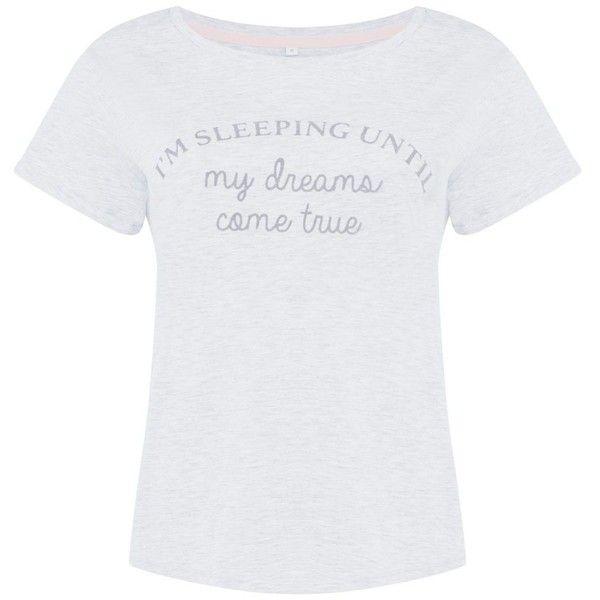 Lounge Sleep Grey slogan cotton pyjama top (15 CAD) ❤ liked on Polyvore featuring intimates, sleepwear, pajamas, short sleeve pajamas, cotton sleep wear, cotton sleepwear, cotton pyjamas and cotton pjs