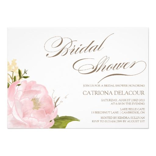 "Romantic Peony Flower Bridal Shower Invitation 5"" X 7"" Invitation Card"
