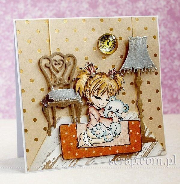 kartka dla dziewczynki  http://www.hurt.scrap.com.pl/pojedynczy-stempel-gumowy-dziewczynka-z-misiem.html