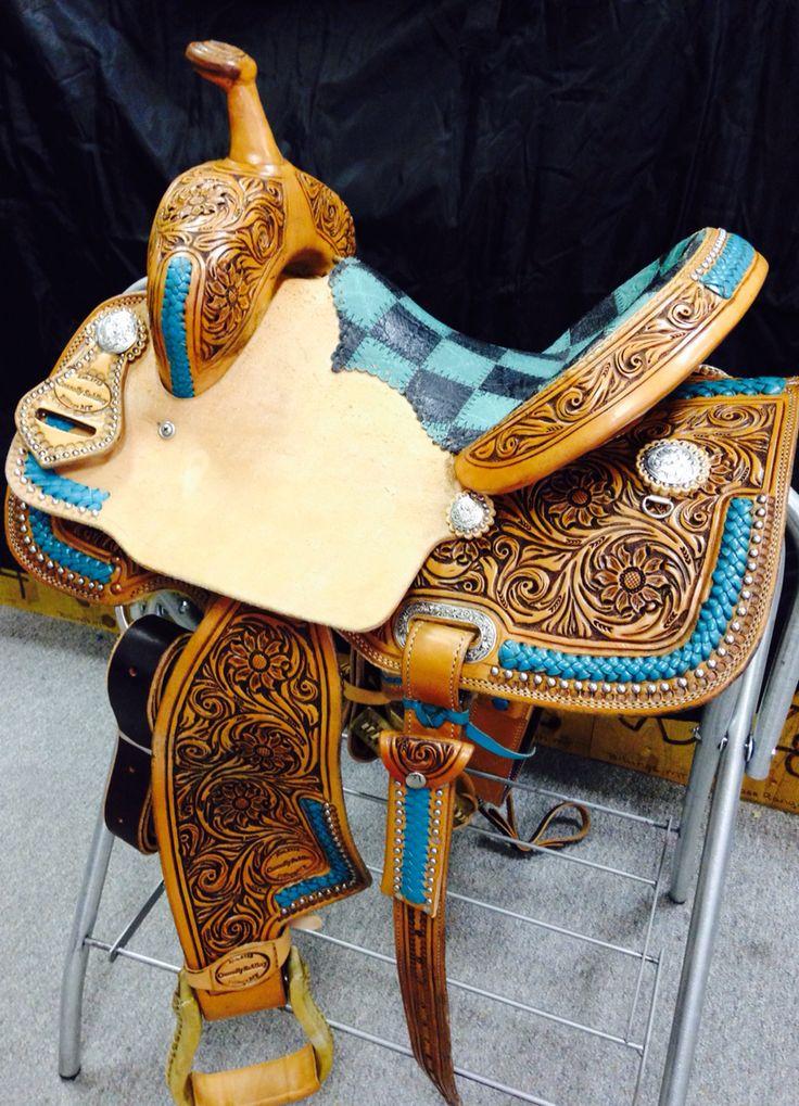 CONNOLLY SADDLERY Barrel Saddle. Turquoise lacing with ...