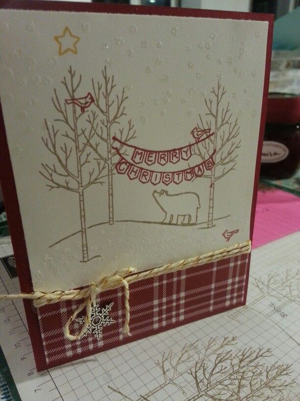 White Christmas. Cherry cobbler. Bakers twine. Snowflake embellishment. Stampin up.