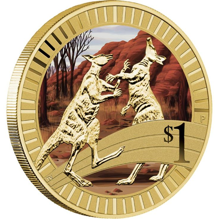 2012 Young Collectors Animal Athletes - Kangaroo $1 Coin in Album | The coin's reverse portrays two 'boxing' kangaroos set against a coloured background of the Australian outback.