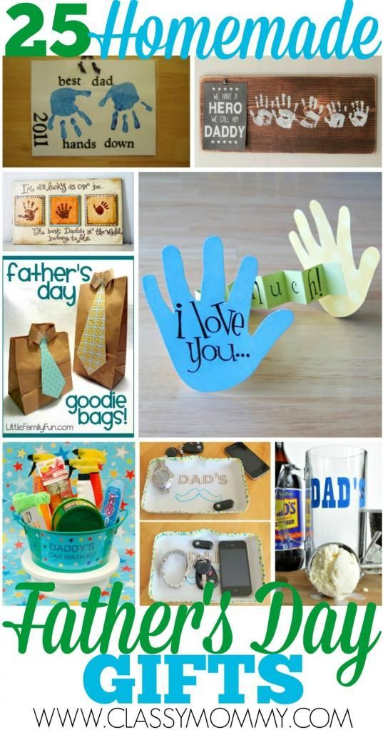 25 EASY Homemade Crafts for Father's Day: In our family, nothing beats out the homemade crafts when it comes to gift giving. Especially those hand prints crafts and tiny scribbles! We've got simple project ideas and links with instructions to help you get inspired and create any of these 25 EASY Homemade Crafts for Father's Day.