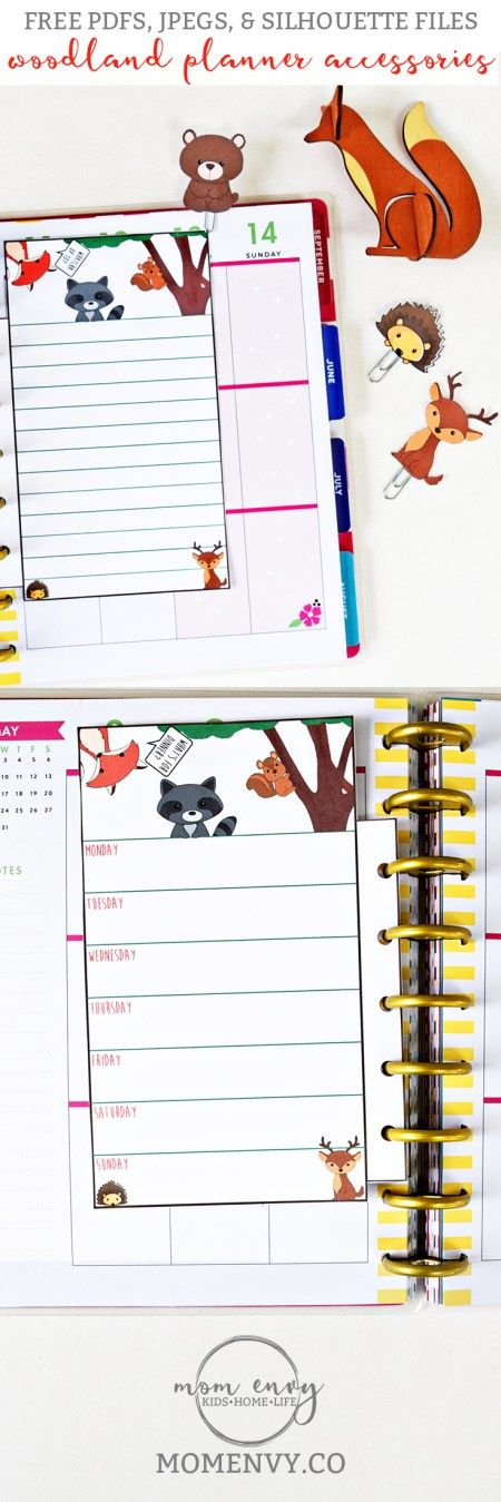 Free Printable Woodland Animal Planner Inserts and Clips from Mom Envy