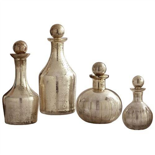 Mercury Glass Decanters.