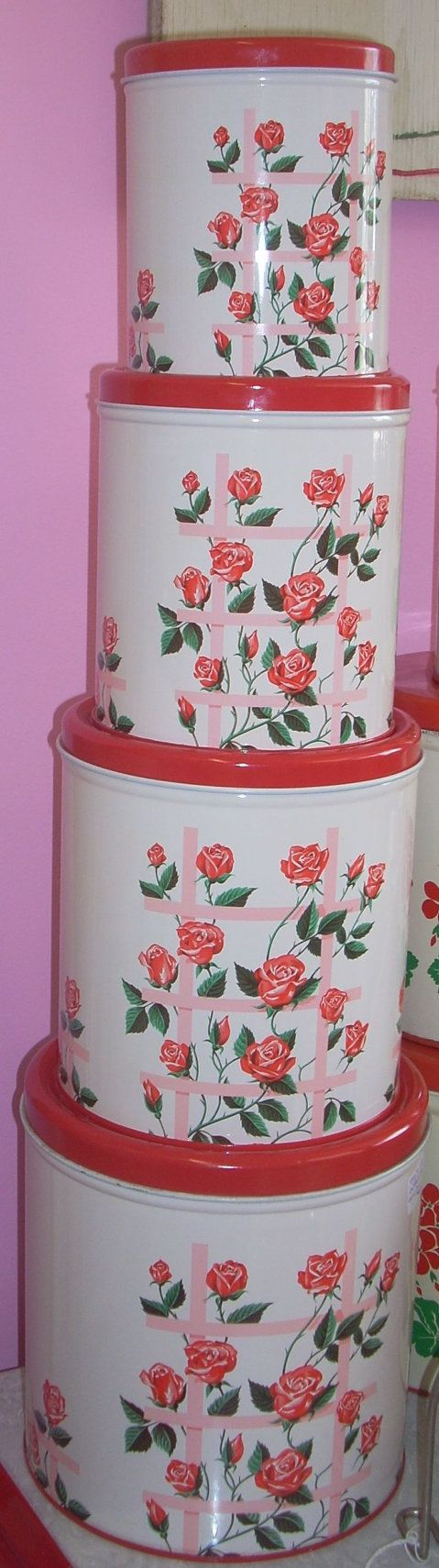 220 best canisters images on pinterest kitchen canisters amazing never used decoware 4 pc nesting tin 68 00 jazz e junque inc in red canistersvintage canisterskitchen canistersvintage