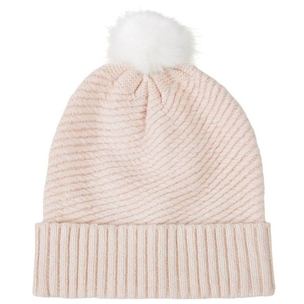 Topshop Diagonal Rib Beanie ($15) ❤ liked on Polyvore featuring accessories, hats, beanies, head, topshop hats, ribbed beanie, topshop beanie, beanie cap and pompom hat