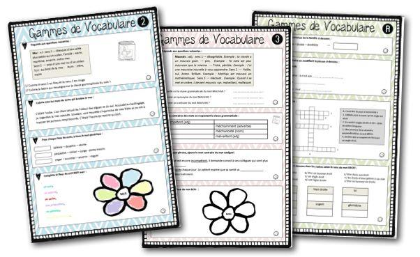 projet vocabulaire ; un mot, des mots réflexion, fiches de prep et gammes : GENIAL ! mais prévu pour des CM alors à adapter pour mes élèves !