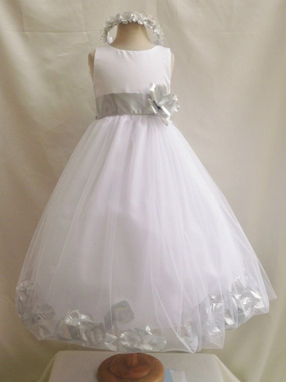 f282b9f29d8 Flower Girl Dress WHITE Silver PETAL Wedding Children Easter Bridesmaid  Communion Silver Red Cherry Red Apple Purple Pink Light Orange …