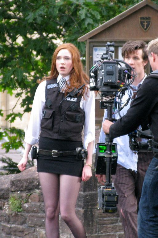 "Eleven + Amy Pond  |  Matt Smith + Karen Gillan   |  Doctor Who  |  filming ""The Eleventh Hour"""