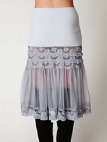 This would be cute to add to the bottom of a t shirt! ruffle slip to make bridesmaid's dresses longer...