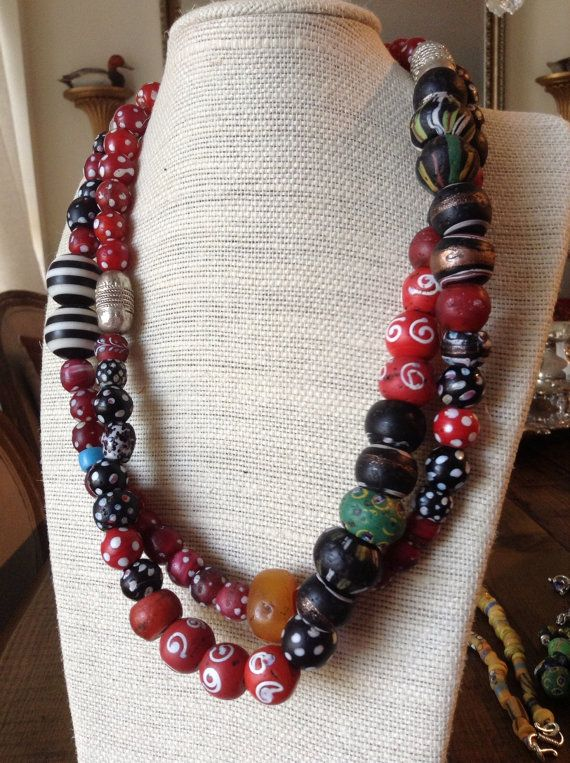 African Trade Bead Necklace, unique, one-of-kind necklace made with beads 150 year old trade beads $ 1,000