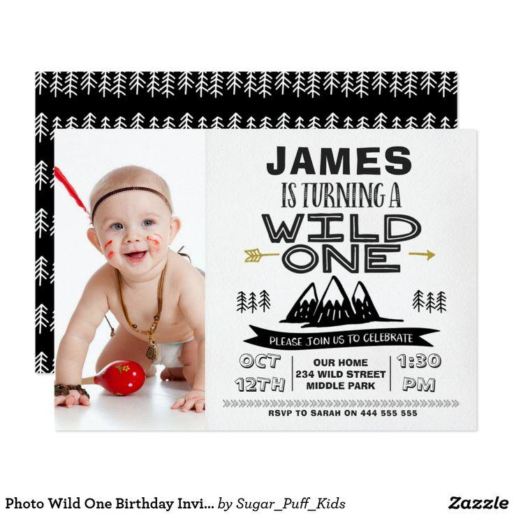 Photo Wild One Birthday Invitation Boy