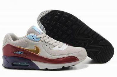 Nike Air Max 90 zapatillas de color gris / oro / café http://www.esnikerun.com/