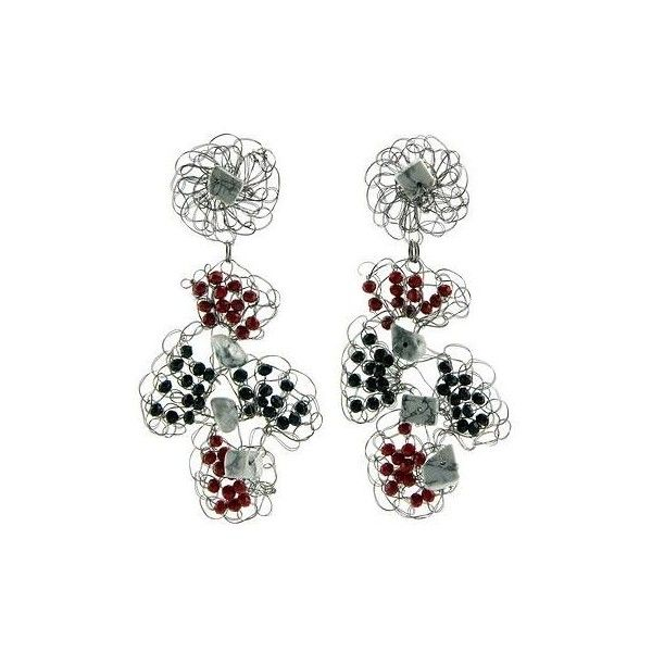 NOVICA Howlite on Stainless Steel Crocheted Earrings from Brazil (850 UAH) ❤ liked on Polyvore featuring jewelry, earrings, burgundy, filigree, novica earrings, filigree earrings, stainless steel earrings, macrame jewelry and crochet jewelry