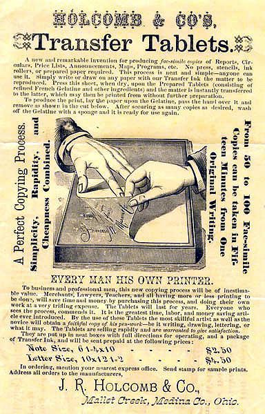 The hectograph or jellygraph was a predecessor to the ditto machine. It used Perkins mauve as a transfer ink