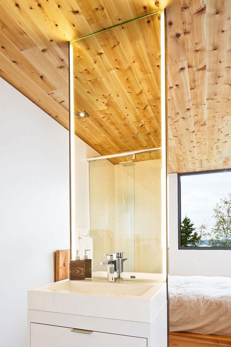 91 best bathroom images on pinterest room modern bathrooms and bathroom modern bathroom wood ceiling panel white utility vanity white marble sink stainless steel single