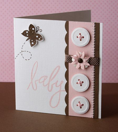 Baby Buttons card - pink and brown - bjl