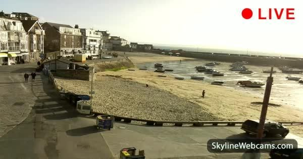 Panoramic view of St. Ives Harbour Beach in Cornwall. Watch it live!
