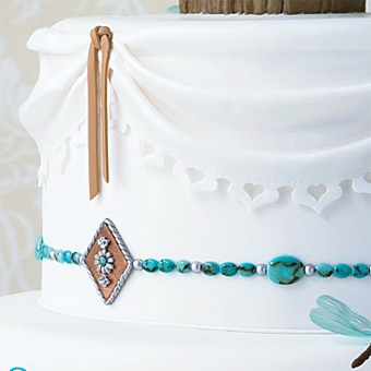 Details  cake shape:round or oval  Color:blue, white/ivory  decorations:flowers, bejeweled  Season:Spring  Wedding Style:bohemian, romantic, Whimsical  Reception Location Type:rustic