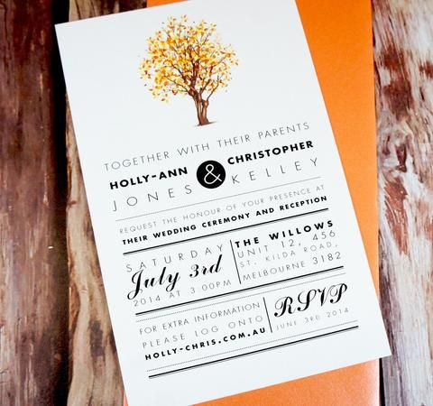 Wedding Invitations, Autumn Tree. Great for Monochrome wedding.