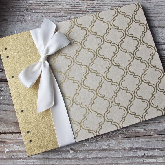 Wedding Guest Book, Cream and Gold Moroccan Print, Select a size, MADE upon ORDER. A classic Moroccan design in gold on a cream background, paired with a gold panel. Handmade in North Carolina. Available on Etsy.