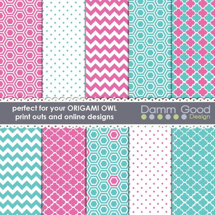 DIGITAL PAPERS- Origami Owl Backgrounds O2 backgrounds chevron quatrefoil hexigon polka dot (3.00 USD) by DammGoodDesign