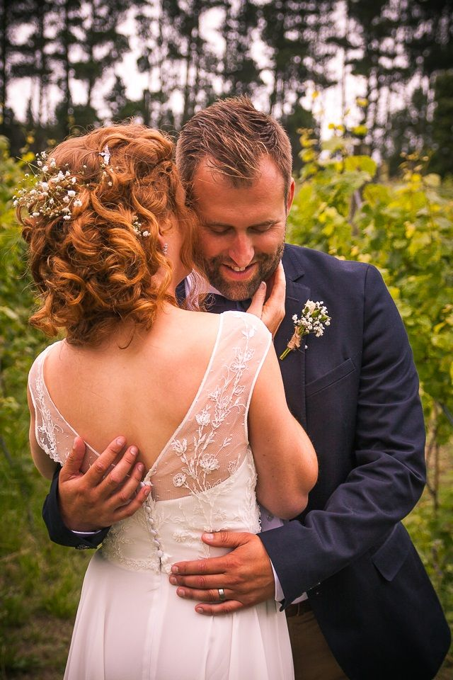 Beautiful Hazel wearing Sophie Voon Bridal's Meadow Dress with Renaissance lace bodice