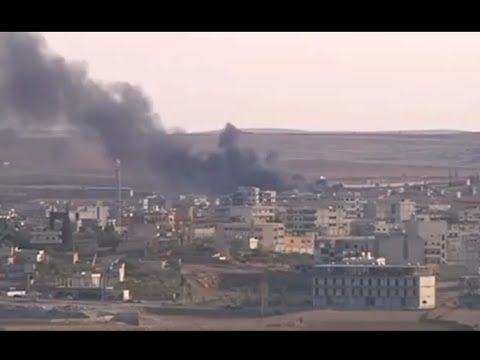 Turkish-Syrian border - Explosions and Black Smoke Dominate Kobane Skyline
