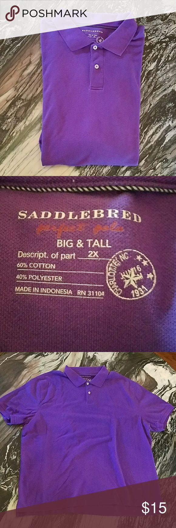 Saddlebred Big & Tall Polo Shirt Saddlebred Big & Tall Polo Shirt   Gorgoeus Purple!  Cotton and Polyester   Short sleeves   Cuffed sleeves   Split hem Saddlebred Shirts Polos