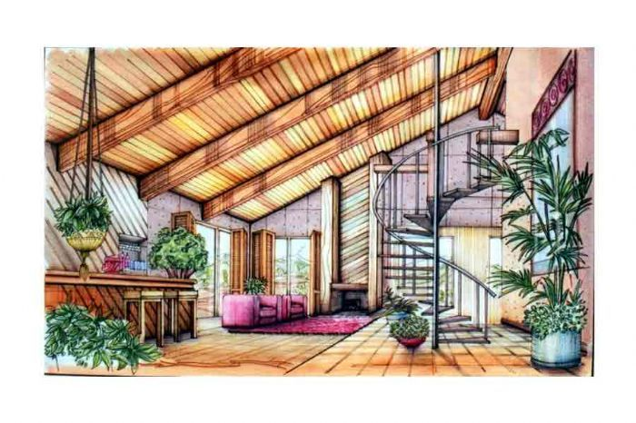 interior design rendering techniques | Interior Hand rendering - This is the interior space that I rendered ...