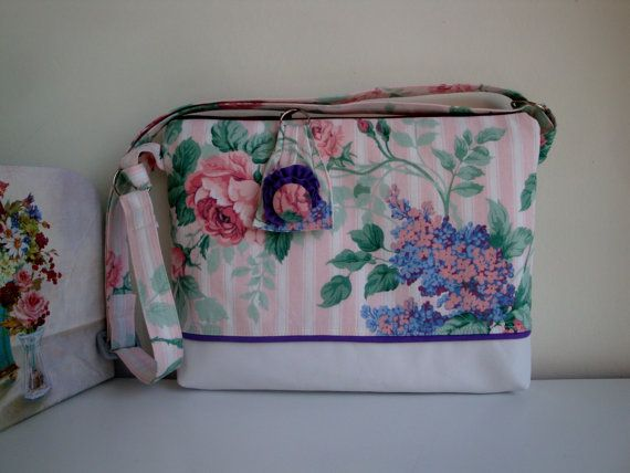 Handmade Floral Cotton and White Leather  Cross body bag - special occasion bag -  girls - gift- spring bag - summer bag - women