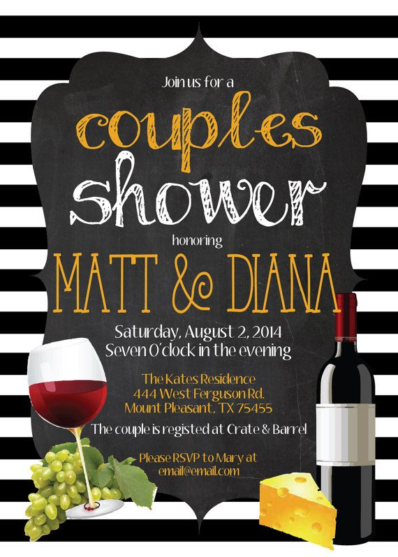 Any color italian food chalkboard wine and cheese couples for Italian bridal shower invitations