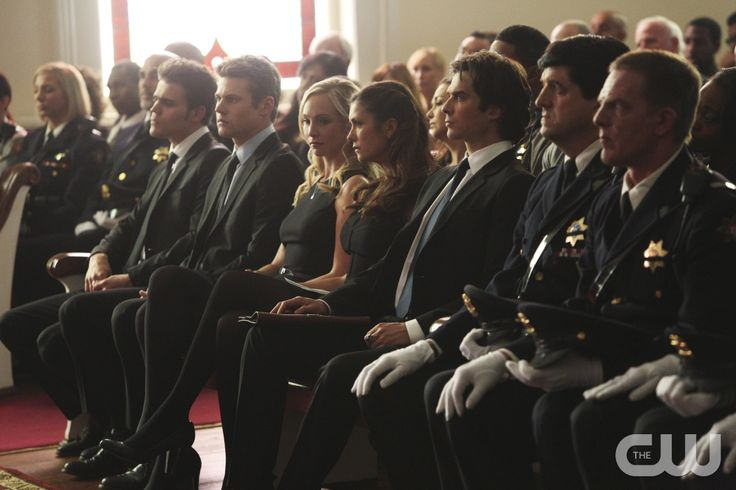 """The Vampire Diaries -- """"Let Her Go"""" -- Image Number: VD615b_0156.jpg -- Pictured (L-R): Paul Wesley as Stefan, Zach Roerig as Matt, Candice Accola as Caroline, Nina Dobrev as Elena and Ian Somerhalder as Damon -- Photo: Annette Brown/The CW -- © 2015 The CW Network, LLC. All rights reserved.pn"""