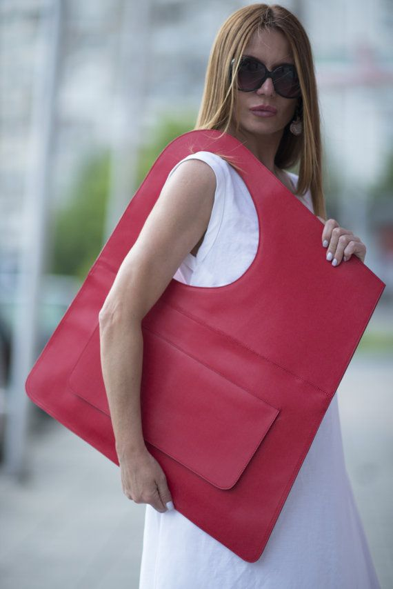 Red Genuine Leather Tote Large Bag / Ruby Red by EUGfashion