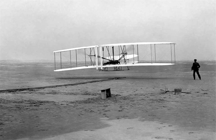 """John T. Daniels  """"First Flight of Wright Flyer 1"""" Dec 17, 1903.  This image is the start of a very important part of the world. Airplanes are in use everyday by millions of people around the world and this picture is the beginning of all that is today.   First Successful flight - Wright Brothers 1903 - John T Daniels"""