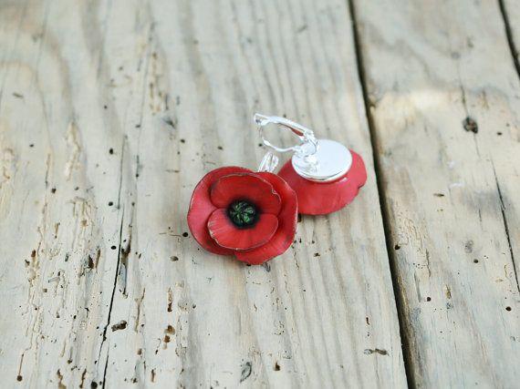 Red poppy earrings Poppy jewelry Dangle poppy earring Red
