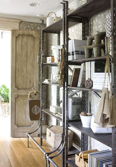 metal industrial shelving - wow great detail on the shelving design