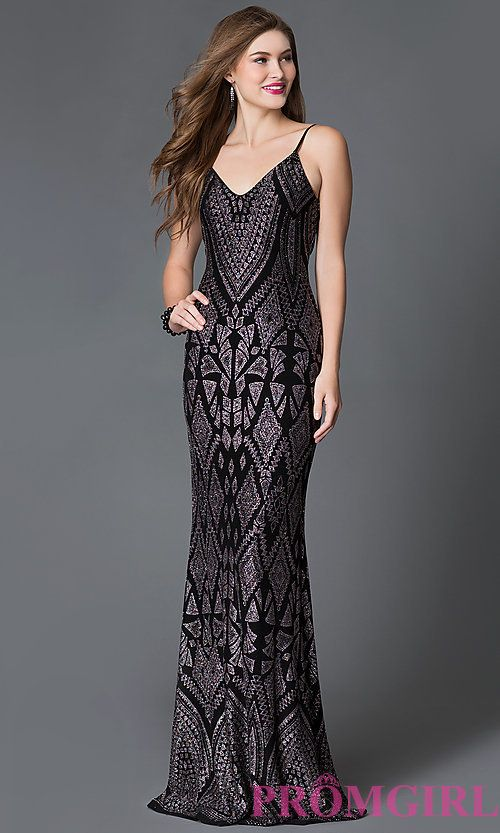 Glitter Print V-Neck Prom Dress with Adjustable Straps
