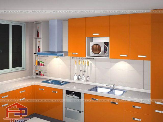 Tủ bếp màu cam