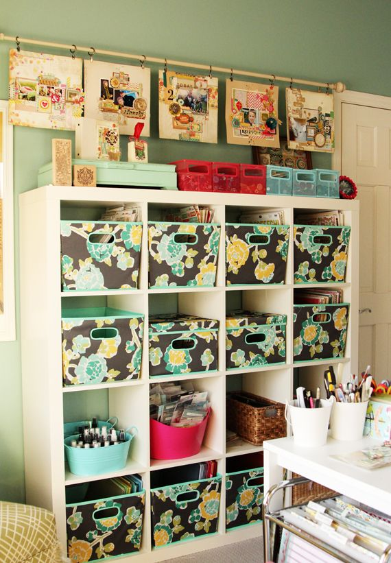 Christine Middlecamp's Artist Studio - Storage    Love the Ikea storage and the curtain rod with pages.