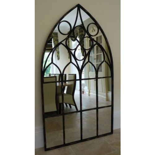 Stunning Very Large Black Arched Cathedral Window Style Wall Mirror H218cm New