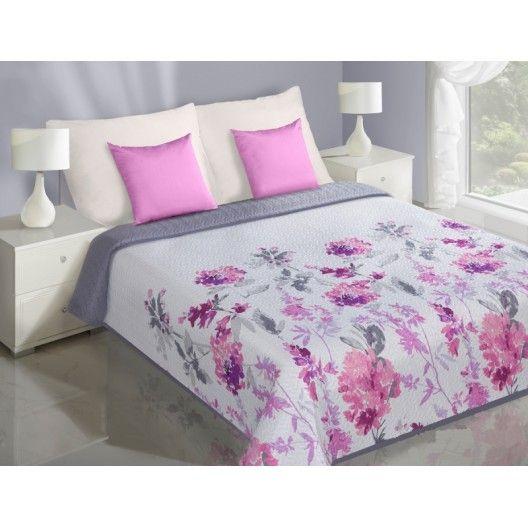 Ružové kvety biely obojstranný prehoz na posteľ